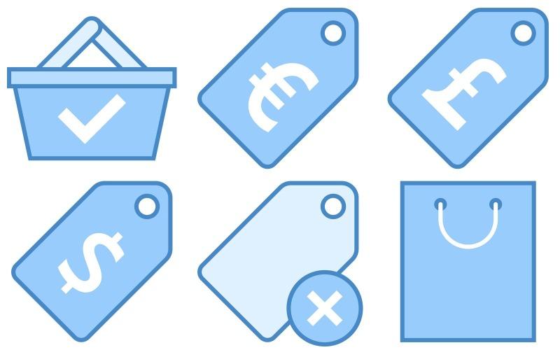 Shopping Icon Pack im blauen UI-Stil