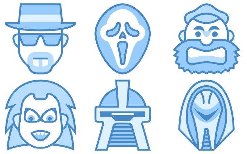 Zeichen Icon Pack im blauen UI-Stil