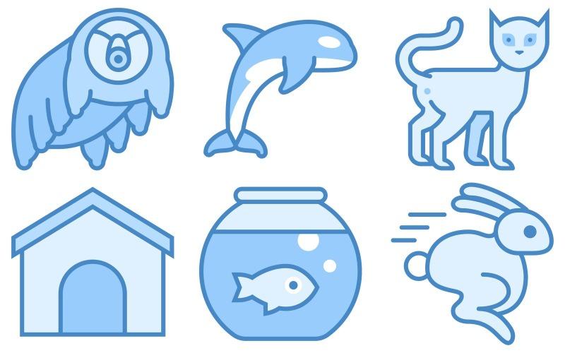 Animals Icon Pack im blauen UI-Stil