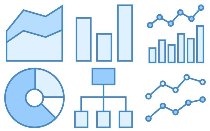 Datensymbolpaket im blauen UI-Stil