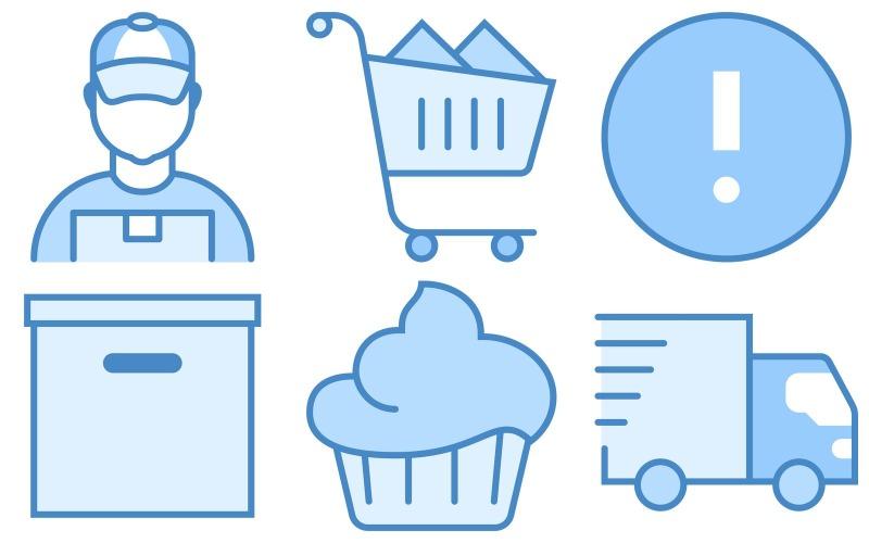 E-Commerce-Symbolpaket im blauen UI-Stil