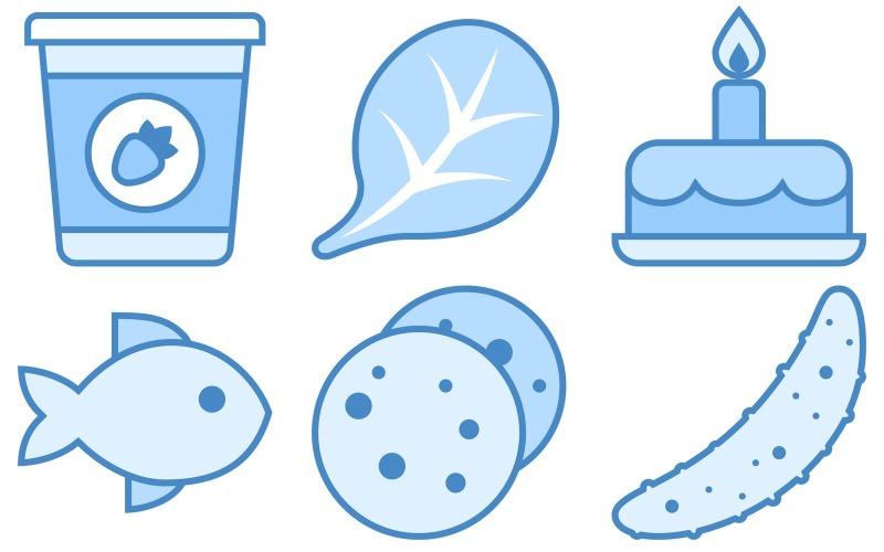 Food Icon Pack im blauen UI-Stil