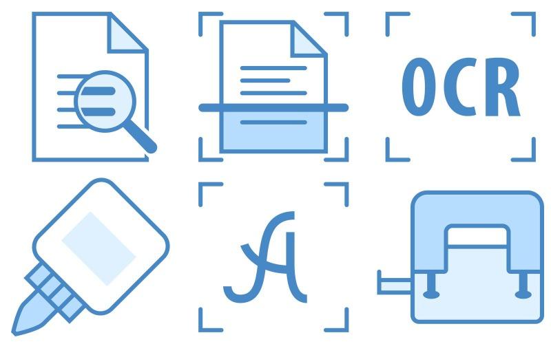 Icon Pack im blauen UI-Stil drucken