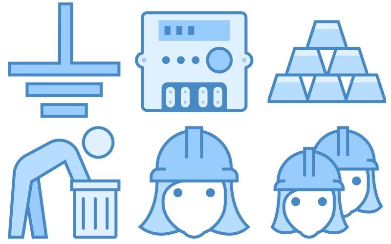 Industrie-Icon-Pack im blauen UI-Stil