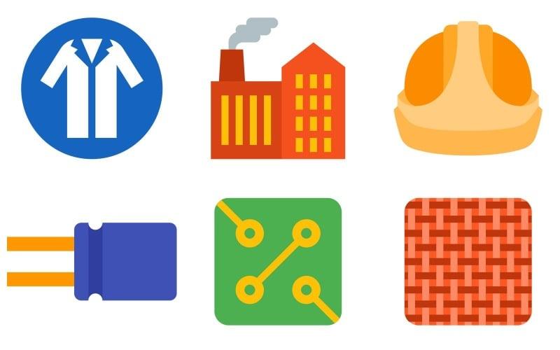 Industrie-Icon-Pack im Farbstil