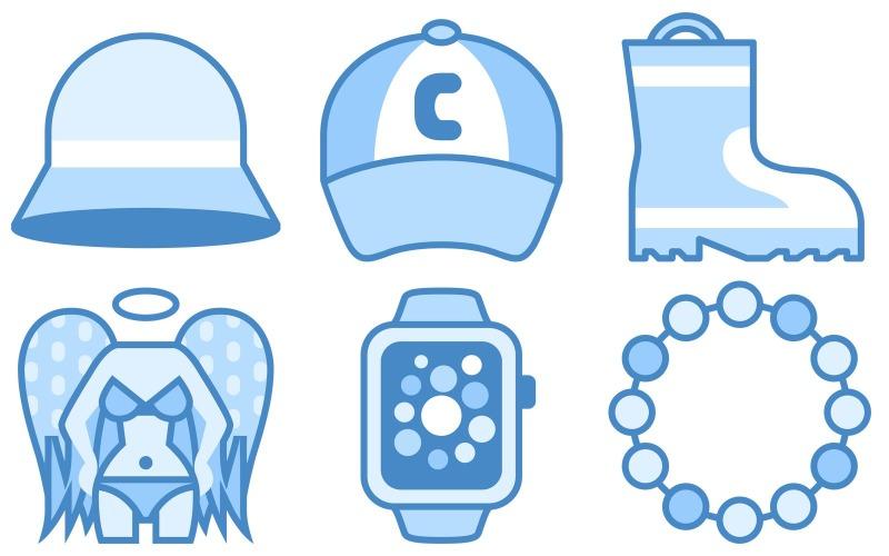 Kleidungs-Icon-Pack im blauen UI-Stil
