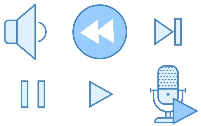 Media Controls Icon Pack im blauen UI-Stil