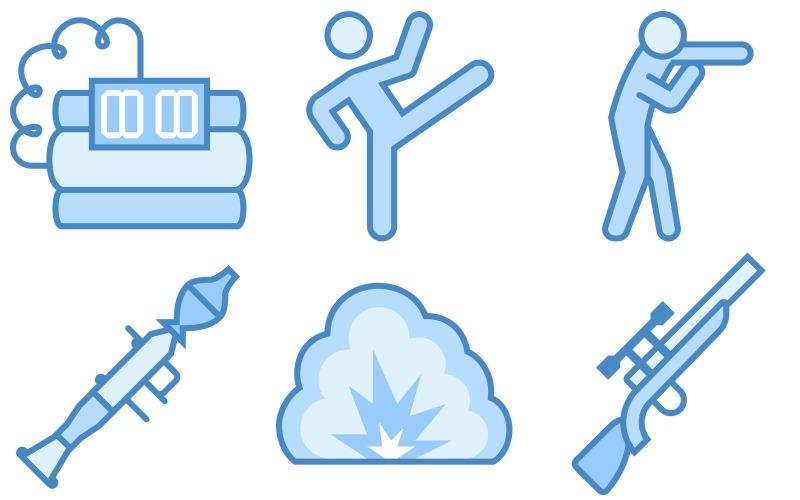 Militärikonenpaket im blauen UI-Stil