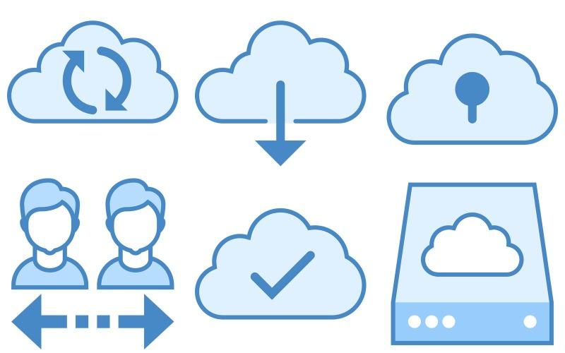 Network Icon Pack im blauen UI-Stil