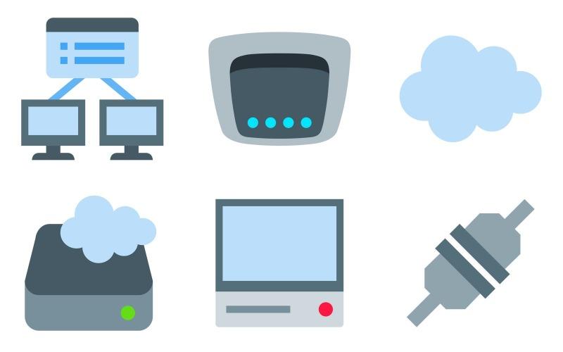 Netzwerk-Icon-Pack im Farbstil