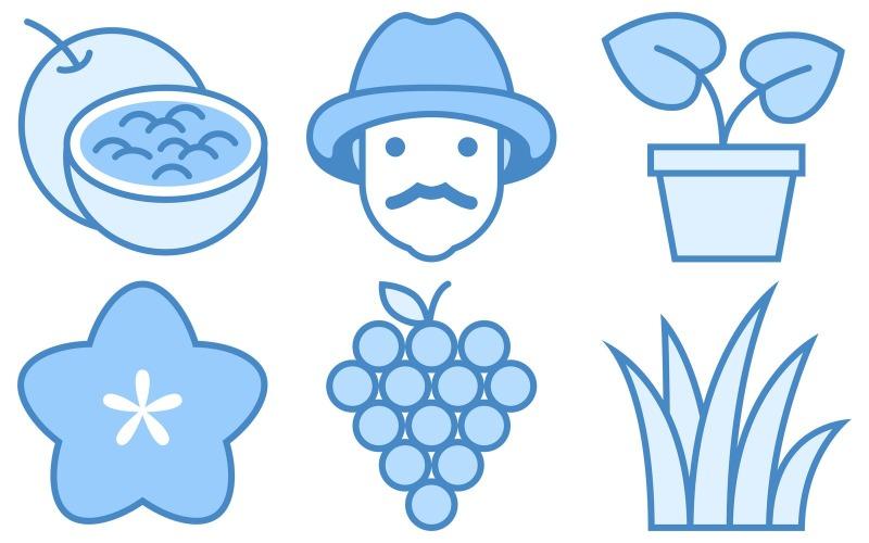 Pflanzen Icon Pack im blauen UI-Stil