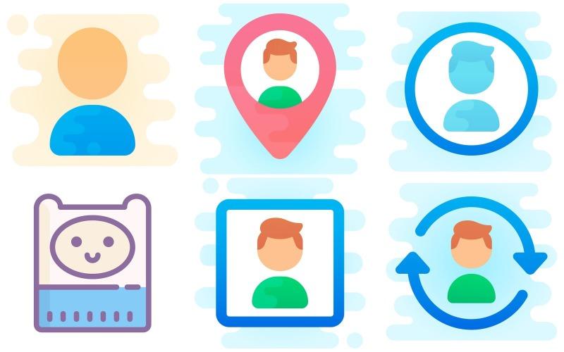 Profil-Icon-Pack im niedlichen Clipart-Stil