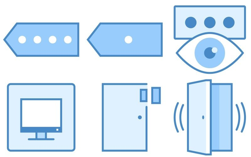 Sicherheitssymbolpaket im blauen UI-Stil