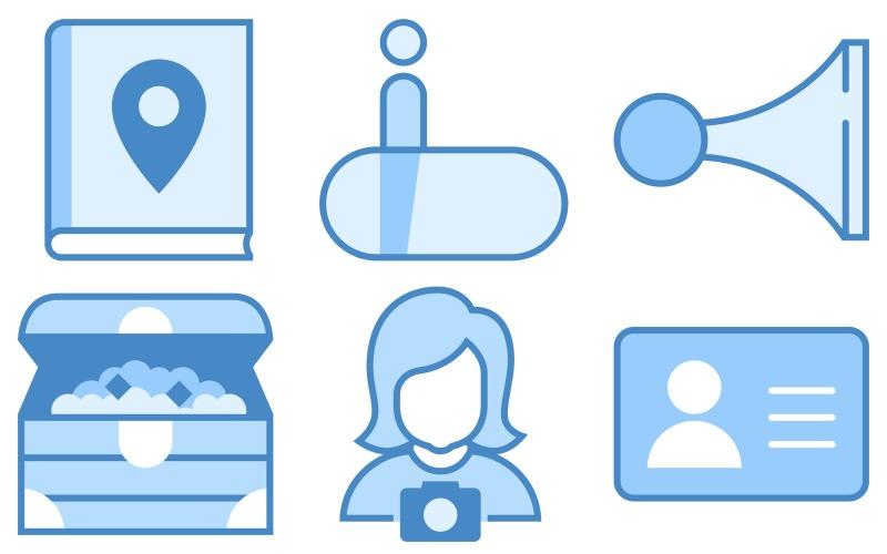 Travel Icon Pack im blauen UI-Stil