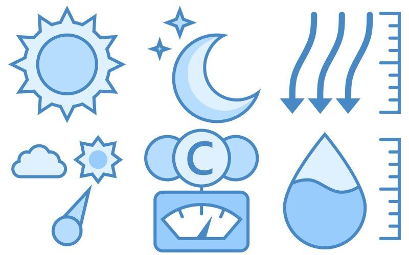 Wettersymbol-Paket im blauen UI-Stil