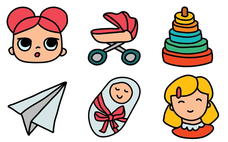 Baby Icon Pack im Doodle-Stil