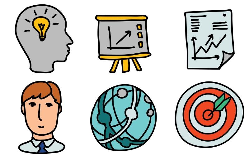 Business Icon Pack im Doodle-Stil
