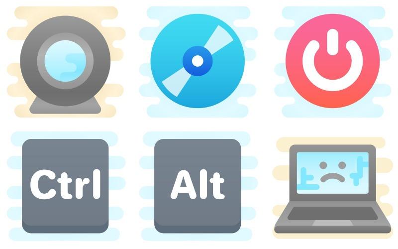 Computer Hardware Icon Pack im niedlichen Clipart-Stil