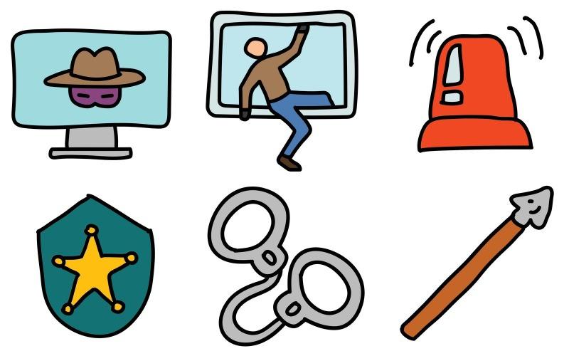 Crime Icon Pack im Doodle-Stil