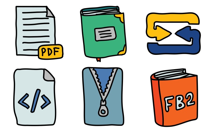 Dateien Icon Pack im Doodle-Stil