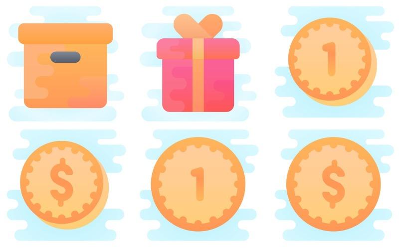 E-Commerce-Symbolpaket im niedlichen Clipart-Stil