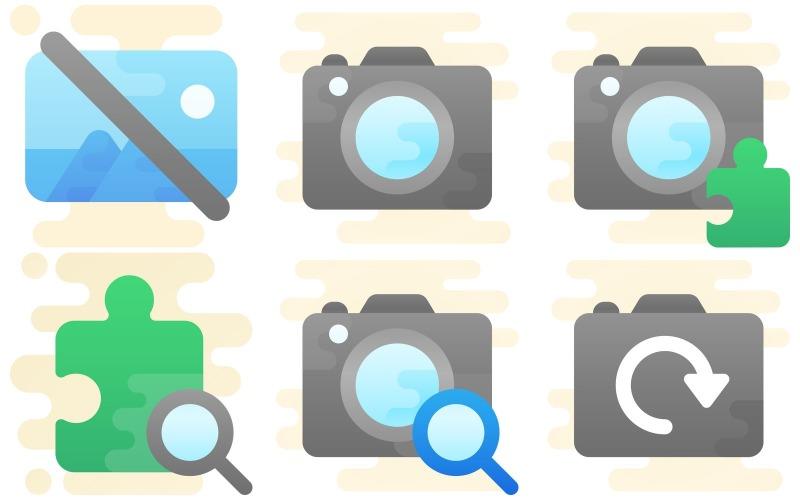 Foto- und Video-Icon-Pack im niedlichen Clipart-Stil
