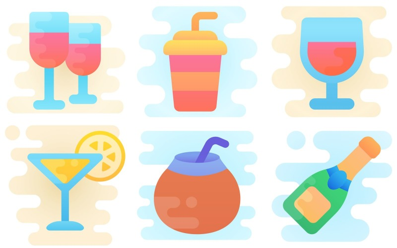 Getränke-Icon-Pack im niedlichen Clipart-Stil