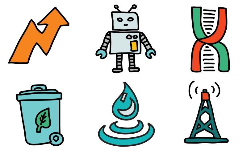 Industrie-Icon-Pack im Doodle-Stil