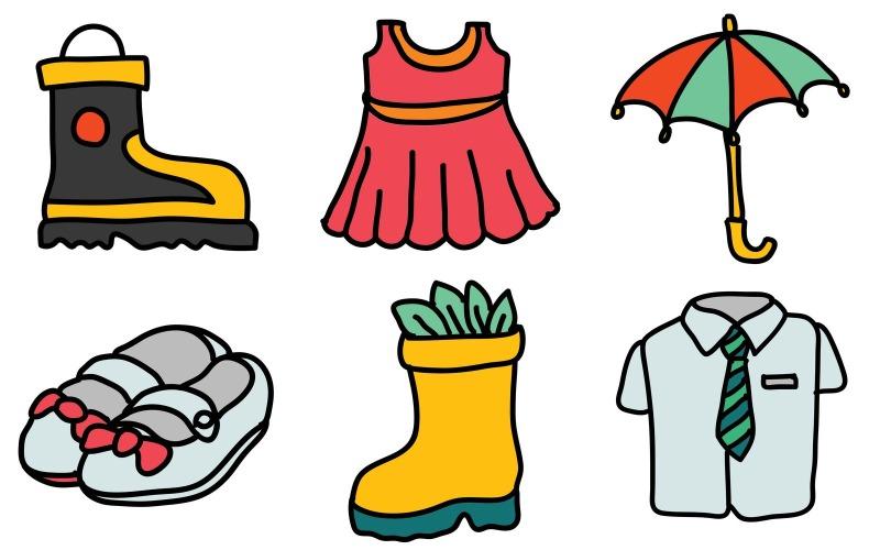 Kleidungs-Icon-Pack im Doodle-Stil