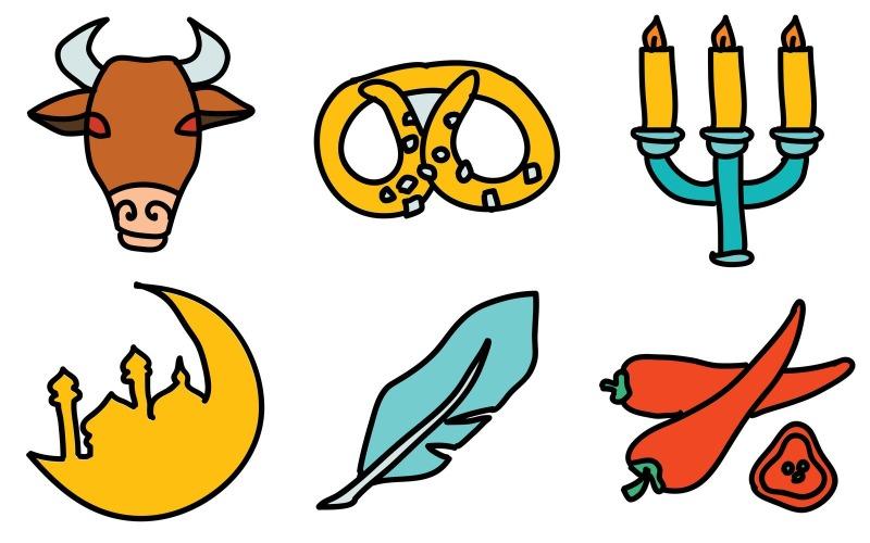 Kultur-Icon-Pack im Doodle-Stil