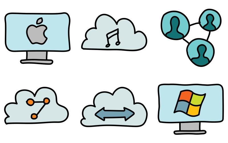 Netzwerk-Icon-Pack im Doodle-Stil
