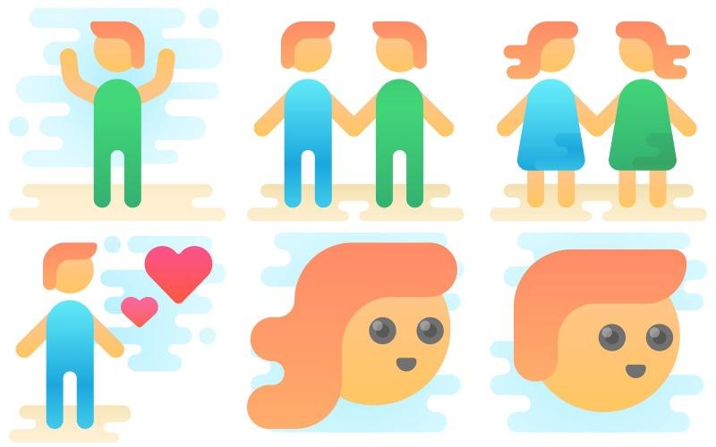 People Icon Pack im niedlichen Clipart-Stil