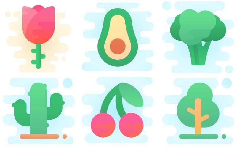 Pflanzen Icon Pack im niedlichen Clipart-Stil