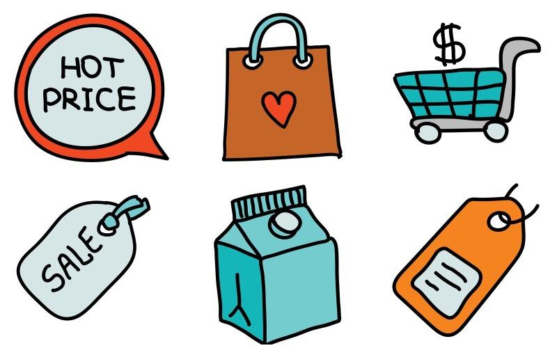 Shopping Icon Pack im Doodle-Stil