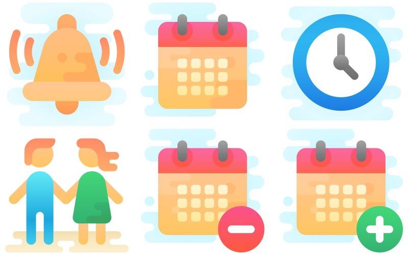 Zeit und Datum Icon Pack im niedlichen Clipart-Stil
