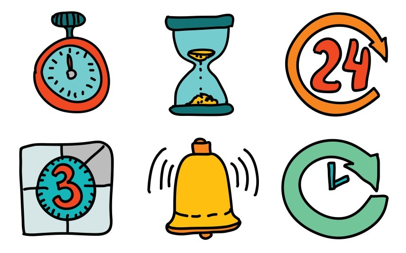 Zeit- und Datums-Symbolpaket im Doodle-Stil