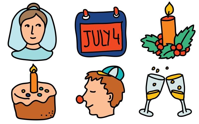 Holidays Icon Pack im Doodle-Stil