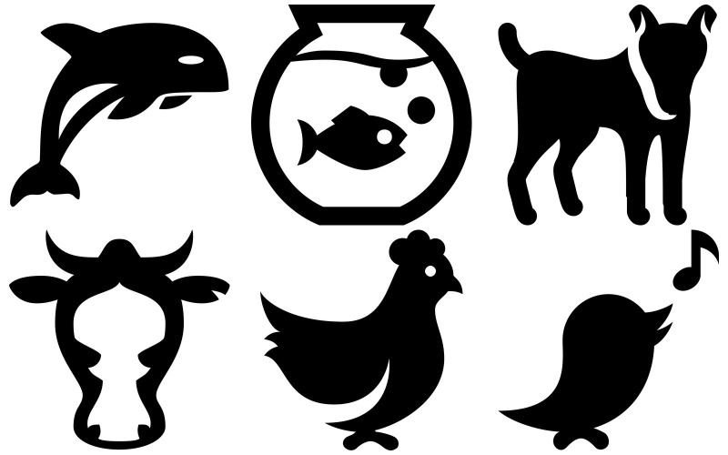 Tier-Symbol-Packung im Eiscreme-Stil