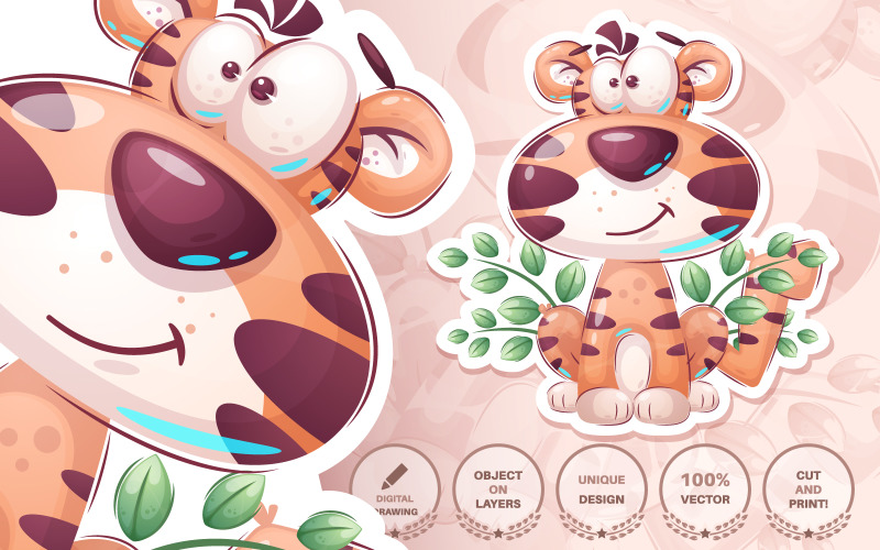 Cartoon Character Cute Tiger - Seamless Pattern, Graphics Illustration