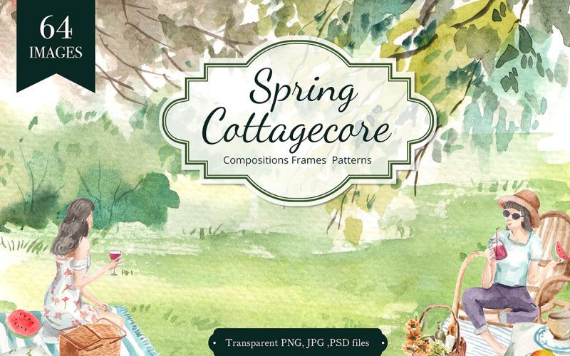 Illustrazione dell'acquerello di primavera di Cottagecore