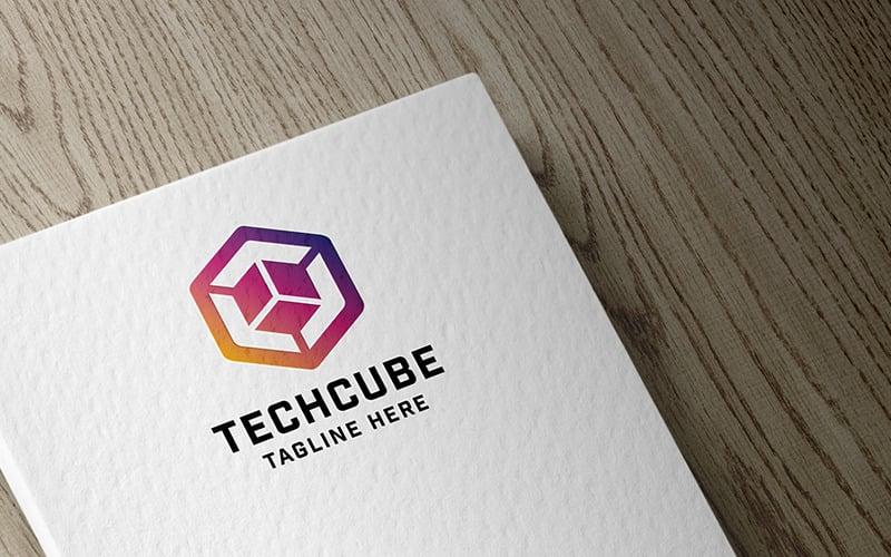 Modèle de logo d'innovation professionnelle Tech Cube
