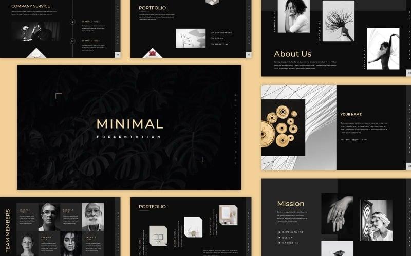 Modello PowerPoint di presentazione minimale nero pulito