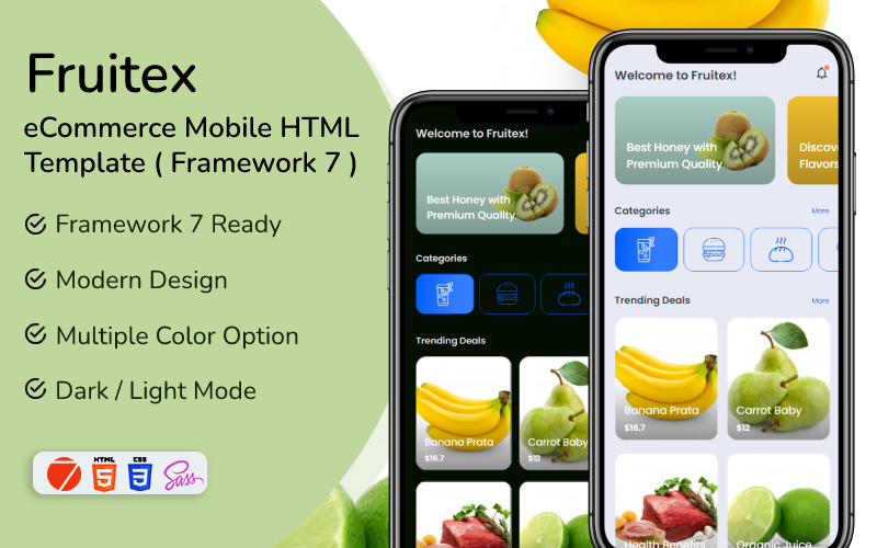 Fruitex - eCommerce Mobile HTML App Template ( Framework 7 )
