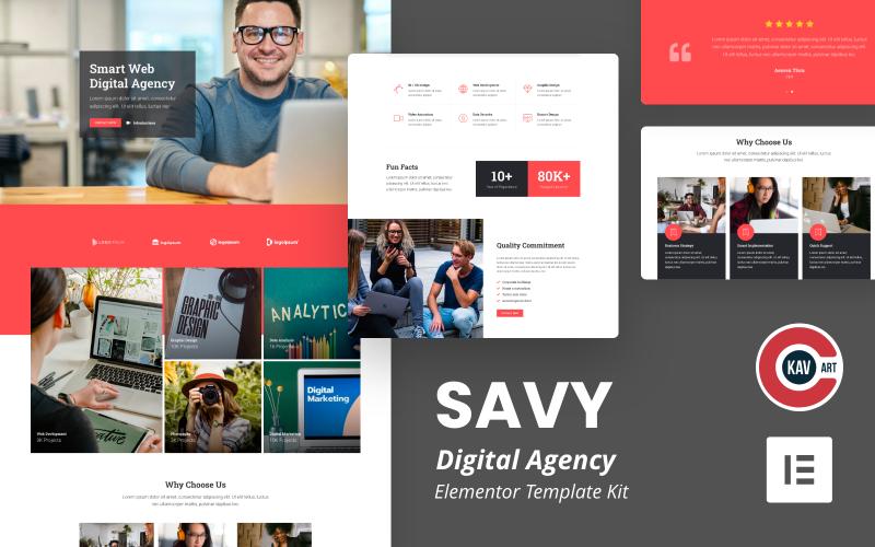 Savy - Elementor Kit voor digitaal bureau