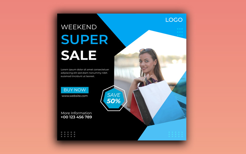 Weekend Super Sale Social Media and Facebook Post Template