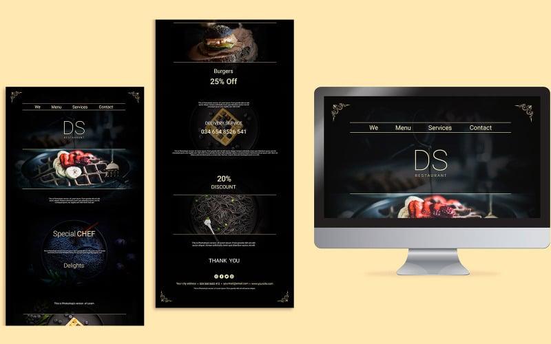 DS Restaurant Landing Page Design PSD Template