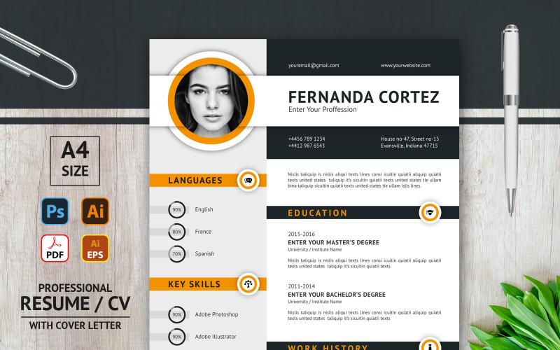 Фернанда Кортез - Макет резюме - Шаблон резюме для печати