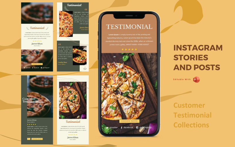 Instagram Stories and Posts Powerpoint Social Media Template - Product Testimonial Collection