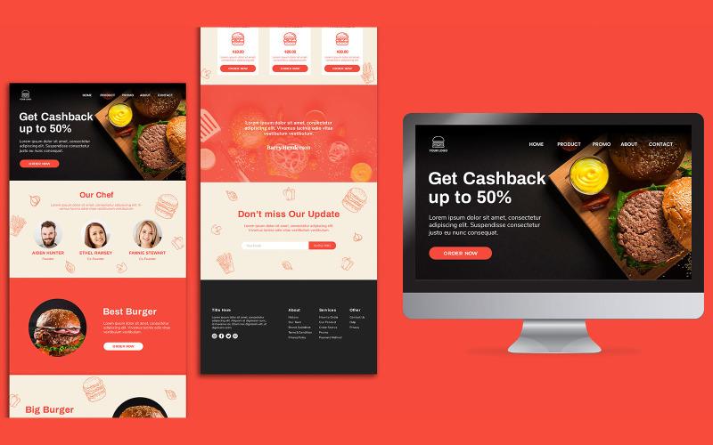 Modello PSD di progettazione della pagina di destinazione del ristorante di hamburger