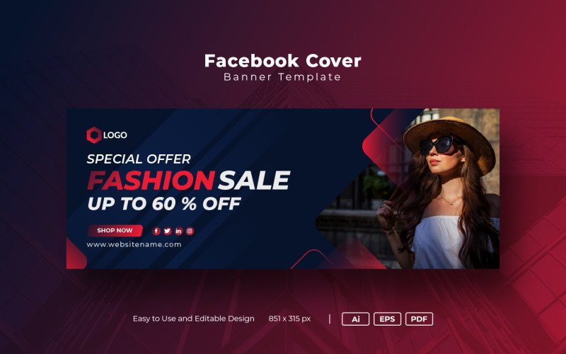 Modern Fashion Sale Facebook Cover Template Social Media